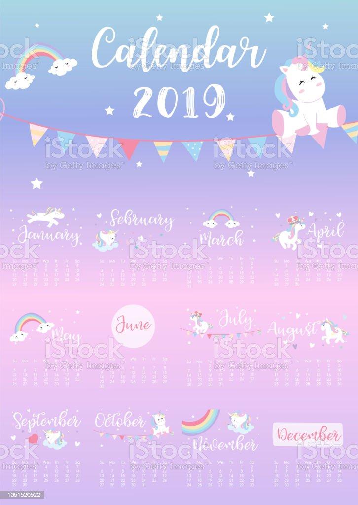 Calendario Rainbow.Cute Rainbow Monthly Calendar 2019 With Unicornheadstarheart