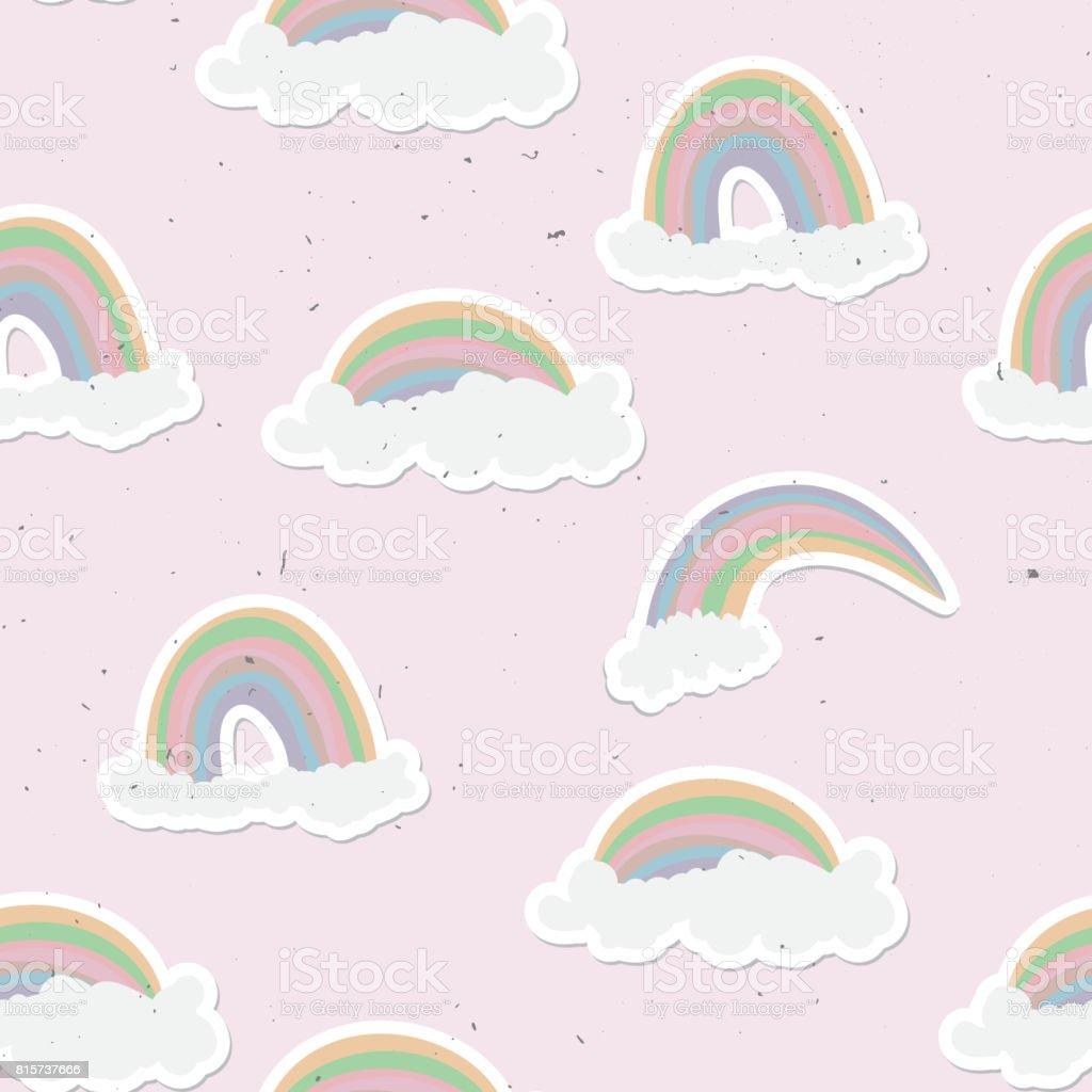 かわいい虹シームレス パターン甘い虹と雲の背景 - いたずら書きの