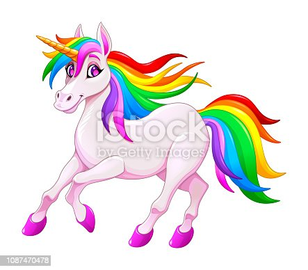 Cute rainbow unicorn. Vector illustration