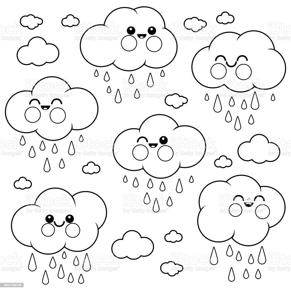Cute Raining Cloud Characters Black And White Coloring Book Page ...