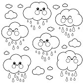 Cute raining cloud characters. Black and white coloring book page