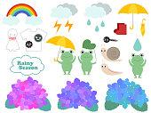 かわいい梅雨のイラストセット