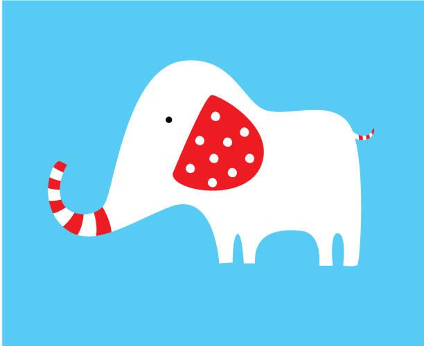 süßen roten und weißen Elefanten Vektor – Vektorgrafik
