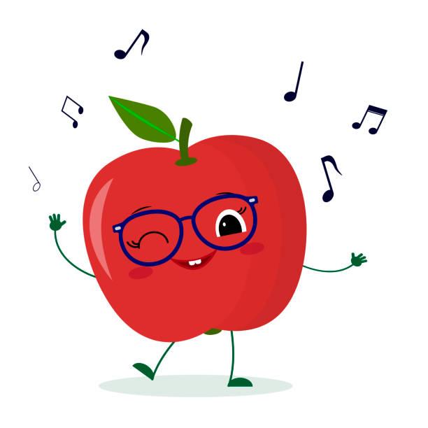 niedliche rote apfel-zeichentrickfigur in gläsern tanzt zur musik. logo, vorlage, design. vector illustration, ein flacher stil - glasohrringe stock-grafiken, -clipart, -cartoons und -symbole
