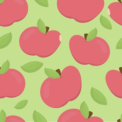 cute red apples on a green background with green grass, vector seamless pattern