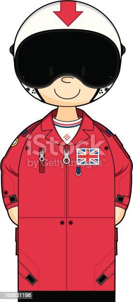 Cute Red Arrow Pilot in Flight Suit Helmet