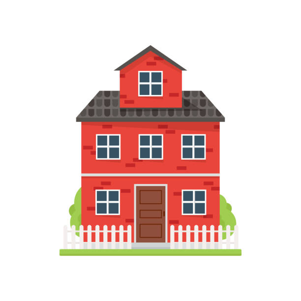 Cute red brick house with white fence and green yard Cute red brick house with white fence and green yard in one city. Flat style. Vector illustration on white background architecture borders stock illustrations