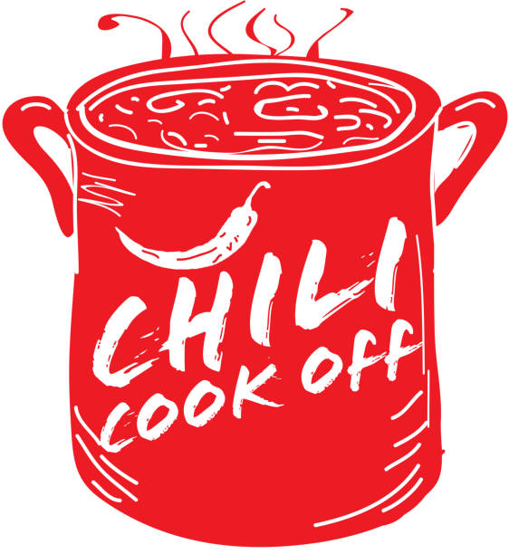Cute red Chili pot cookoff event   icon design Vector illustration of a red hand drawn Chili Cookoff logo or icon design template. Red, Black and white. Includes red, black and white color themes with large crock pot with chilis. White background Perfect for white background design for picnic invitation design template, summer barbecue event, picnic celebration, backyard bbq, private or corporate party, birthday party, fun family event gathering, potluck supper. cooking competition stock illustrations