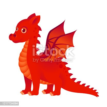 istock Cute red dragon fantasy reptile 1217734094
