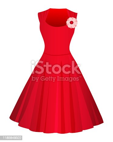 Cute Red dress isolated on white background. Flat style. Vector illusatrtion.
