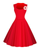 istock Cute Red dress isolated on white background. Flat style. Vector illusatrtion. 1185849322