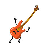 Cute red electric guitar funny characterwith rock hands