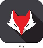Cute Red Fox,  cartoon flat icon design, like a logo