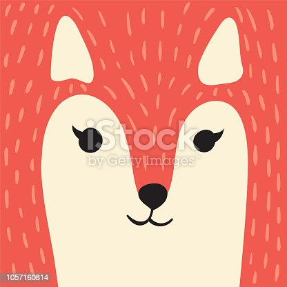 Cute red fox cartoon animal portrait with smiling face gonger animal head card with copy space vector illustration
