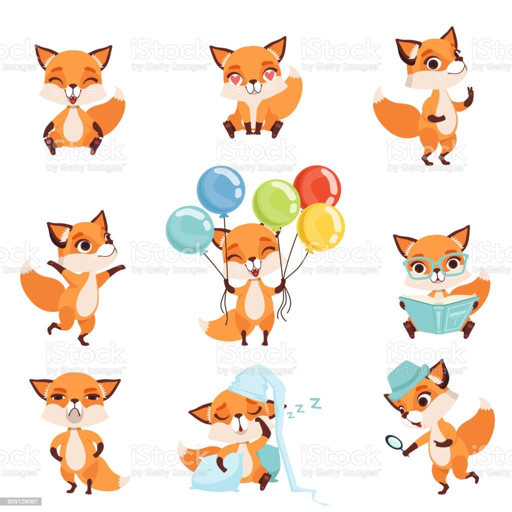 Süße rote Füchse zeigen verschiedene Emotionen und Handlungen. Lachen, sitzen, gehen, tanzen, schlafen, lesen, wütend, halten bunte Luftballons. Flache Vektor-design – Vektorgrafik