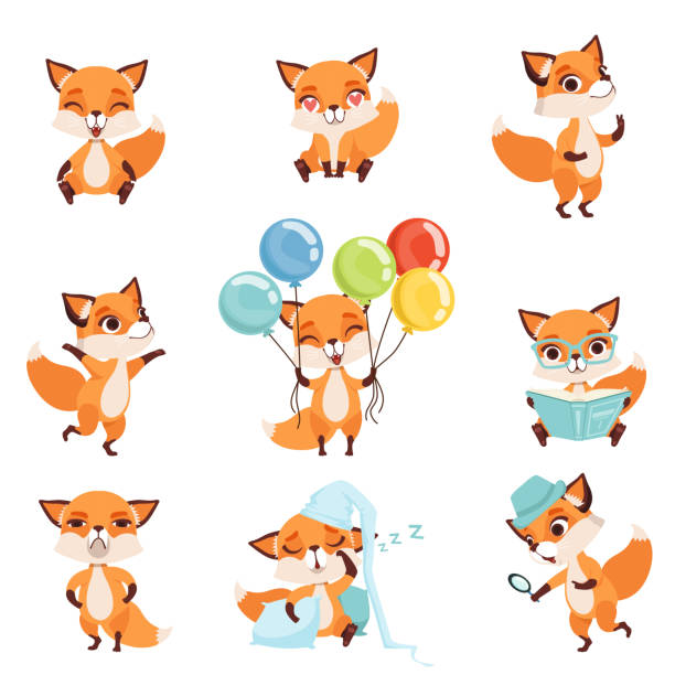 cute red foxes showing various emotions and actions. laughing, sitting, walking, dancing, sleeping, reading, angry, holding colorful balloons. flat vector design - fox stock illustrations