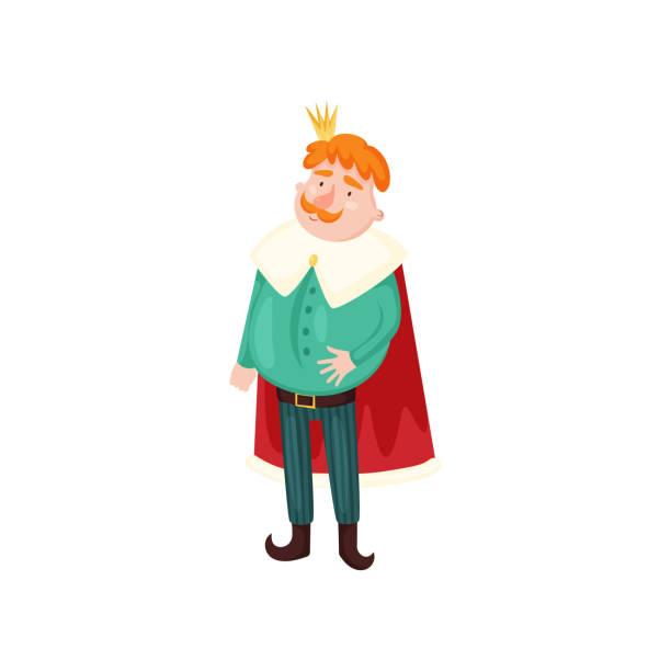 illustrations, cliparts, dessins animés et icônes de cheveux rouges mignons et roi de moustache avec la couronne d'or - sceptre