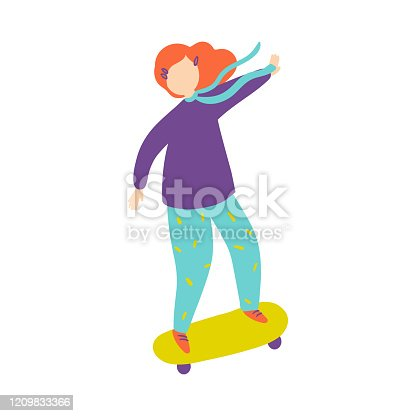 Cute red hair girl in violet sweater ride at green skateboard. Flat style. Vector illustration on white background