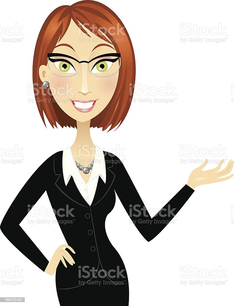 Cute red head business woman gesturing vector art illustration