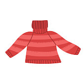 istock Cute red knit striped sweater, Christmas, New Year symbol. Cozy warm self made clothes for cold weather. Cartoon isolated vector illustration. 1314941038