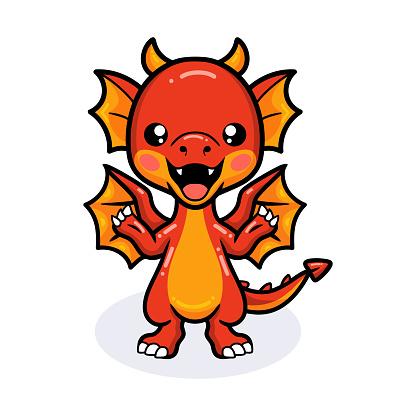 Cute red little dragon cartoon waving hands