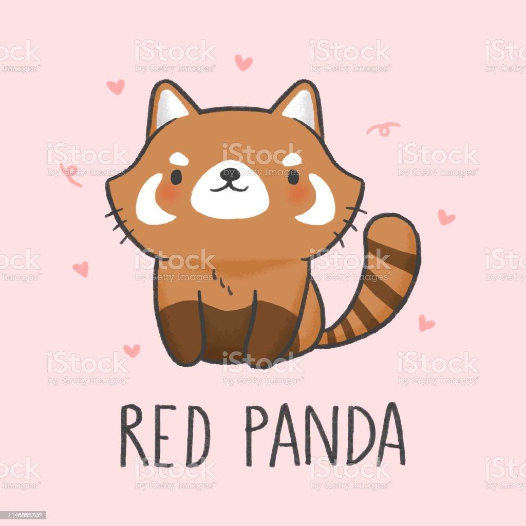 Style Dessiné à La Main De Dessin Animé Panda Roux Mignon