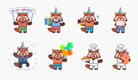 Cute red panda characters in birthday party set