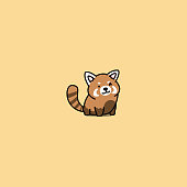 Cute red panda winking cartoon icon, vector illustration