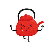 Cute red porcelain teapot standing on one leg. Yoga exercise and balance practice. Funny cartoon character vector illustration.
