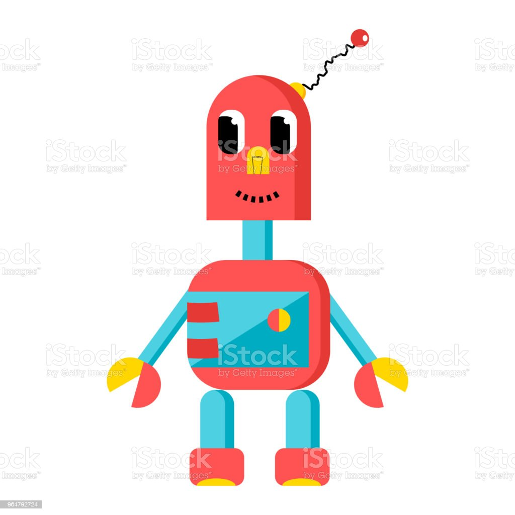 Cute red robot in cartoon style royalty-free cute red robot in cartoon style stock vector art & more images of alien