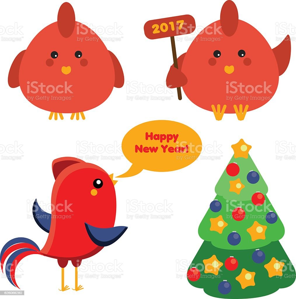 Cute red roosters christmas spruce tree new year symbols stock cute red roosters christmas spruce tree new year symbols royalty free stock vector biocorpaavc Image collections