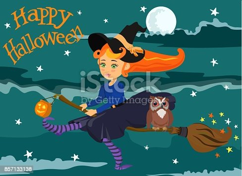 Vector picture of small witch with red hair on broom with an owl and pumpkin lantern in the night sky with the text of Happy Halloween.