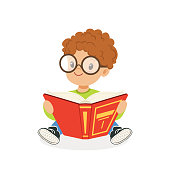 Cute redhead boy wearing glasses reading a book, kid enjoying reading, colorful character vector Illustration on a white background