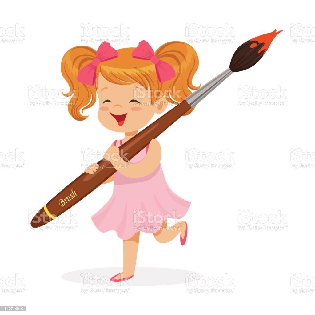 şirin Kızıl Dev Boya Fırçası Karikatür Vektör çizim Tutan Pembe