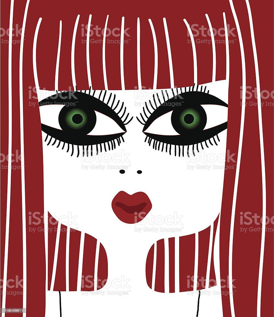 cute redhead woman vector art illustration