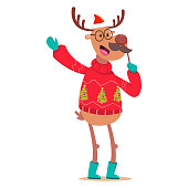 istock Cute Reindeer in an ugly Christmas sweater with a mustache party photo props. Vector cartoon funny deer character isolated on a white background. 1283531482