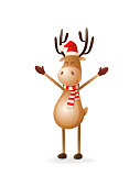 Cute Reindeer put hands up - celebrate Christmas and New year