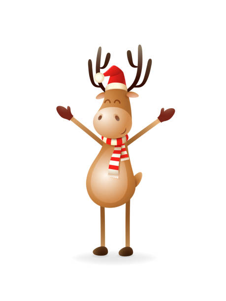 cute reindeer put hands up - celebrate christmas and new year - reindeer stock illustrations