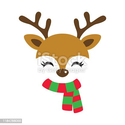 Vector illustration of cute reindeer face wearing red and green Christmas scarf.