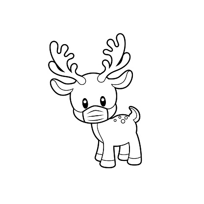 Cute Reindeer Wearing Mask Stencil Vector Illustration on White