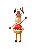 Cute Reindeer with sweater celebrate Christmas and New year