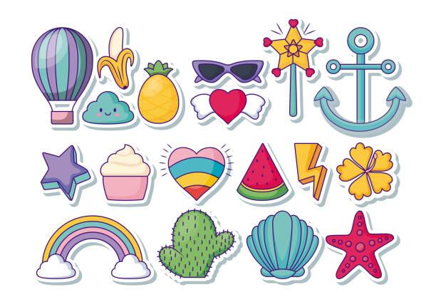 stockillustraties, clipart, cartoons en iconen met schattige bijbehorende pictogrammen - bloemen storm