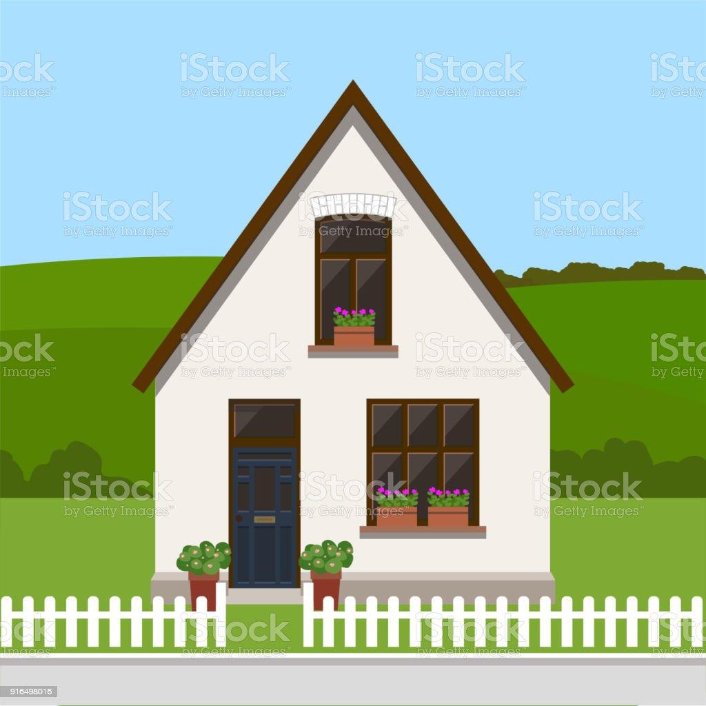 Ilustración de Linda Casa Residencial Paisaje Campestre Plantilla De ...