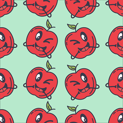 A cute retro apple character with a light background.