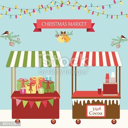 istock Cute retro card of Christmas market 842422944