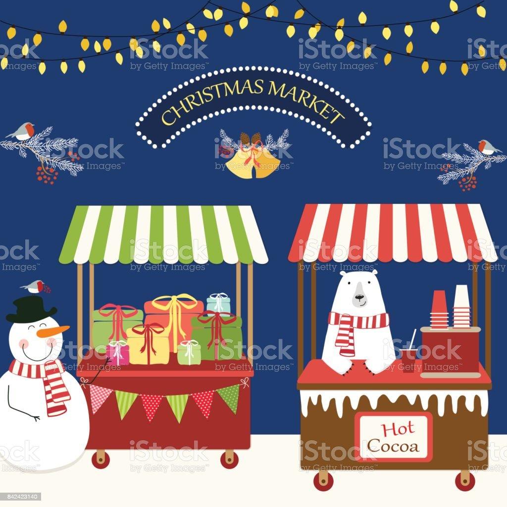 Cute retro card of Christmas market vector art illustration