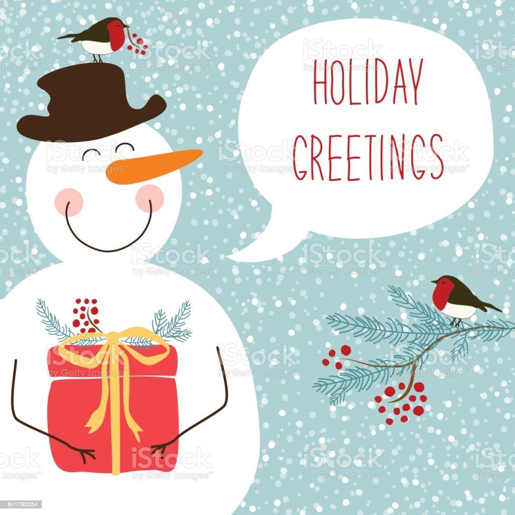 吹き出しと雪だるまの面白い漫画のキャラクターでかわいいレトロなクリスマス カード ベクターアートイラスト