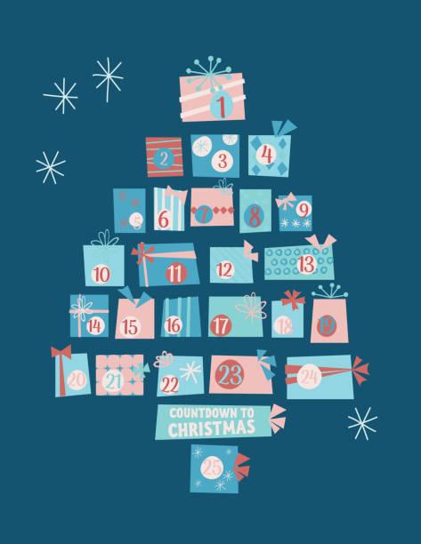 illustrations, cliparts, dessins animés et icônes de arbre mignon de calendrier de cadeaux rétro de noel - calendrier de l'avent