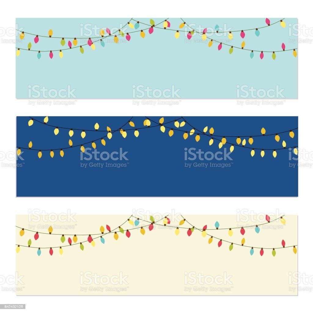 Słodkie retro boże narodzenie żarówki banery - Grafika wektorowa royalty-free (Boże Narodzenie)