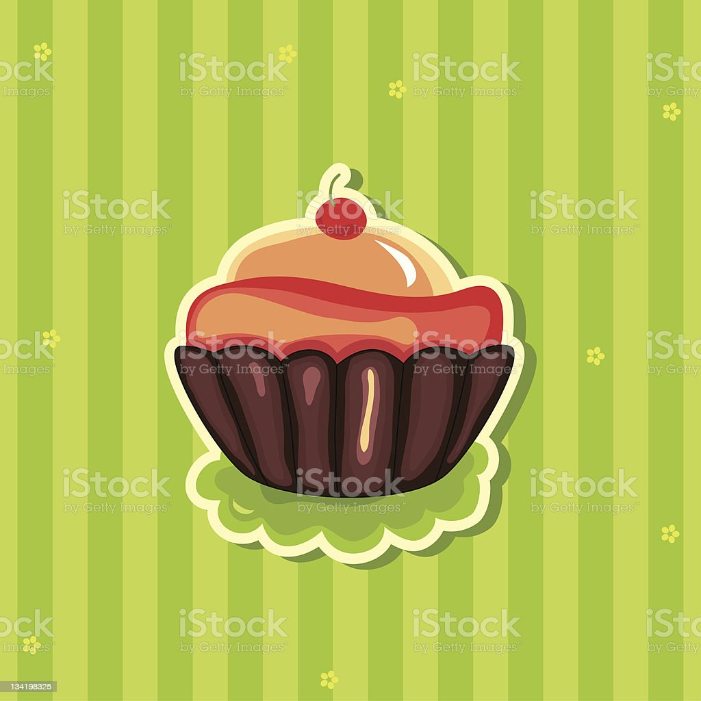 Cute retro Cupcake on striped background royalty-free stock vector art